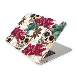 Mac Book Air 13 Design Aufkleber - Skull Flower White