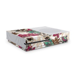 XBOX ONE S Skin - Design Aufkleber Skull Flower White