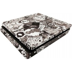 PS4 Slim Skin - Design Aufkleber Stickerbomb Black/White